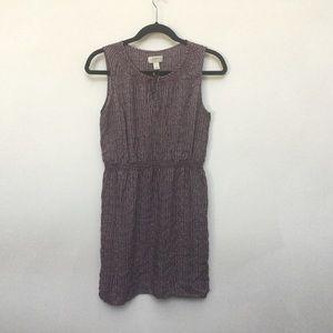 LOFT Petite Purple and White Chevron Dress